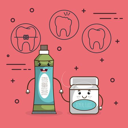 dental care comic character vector illustration design
