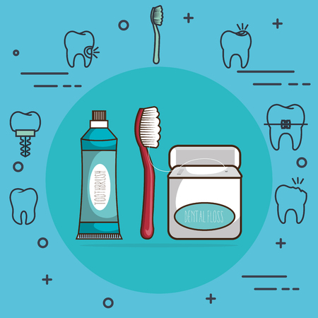 dental care set icons vector illustration design Çizim