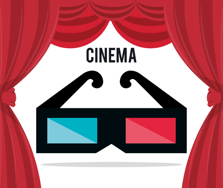 cinema 3d glasses entertainment icon vector illustration design