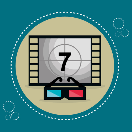 cinema tape with number seven entertainment icon vector illustration design Stok Fotoğraf - 99976396