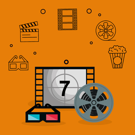 cinema entertainment set icons vector illustration design