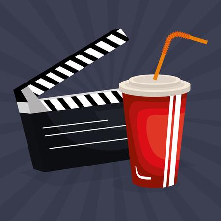 cinema clapper board entertainment icon vector illustration design