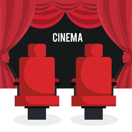 cinema chairs entertainment icon vector illustration design