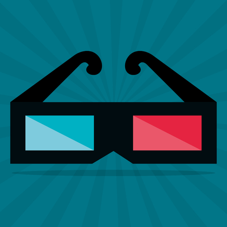 cinema 3d glasses entertainment icon vector illustration design