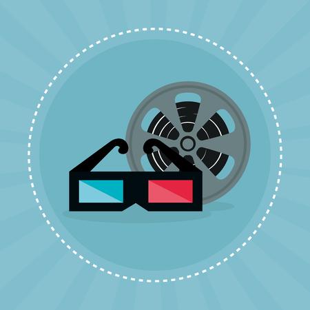 cinema tape reel entertainment icon vector illustration design