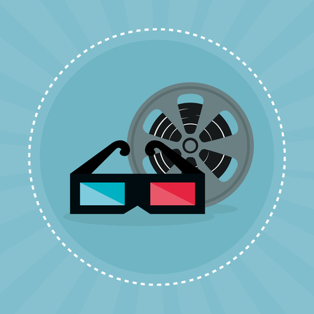 cinema tape reel entertainment icon vector illustration design