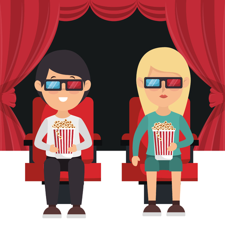 cinema people eating pop corn and watching a movie 3d vector illustration Stok Fotoğraf - 99995962