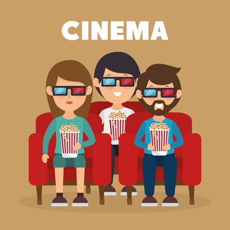 cinema people eating pop corn and watching a movie 3d vector illustration