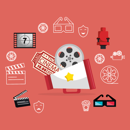 cinema entertainment set icons vector illustration design Stock Vector - 99935943