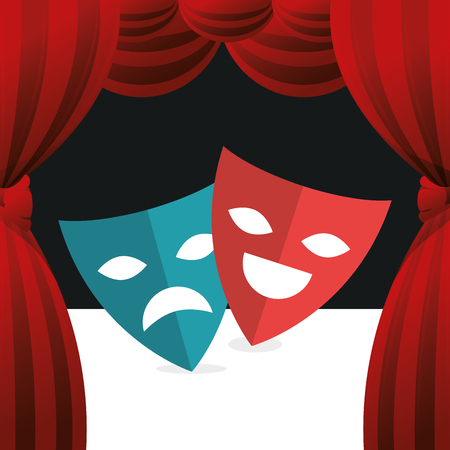 cinema theatrical mask entertainment icon vector illustration design