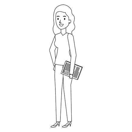 Businesswoman with curriculum avatar character
