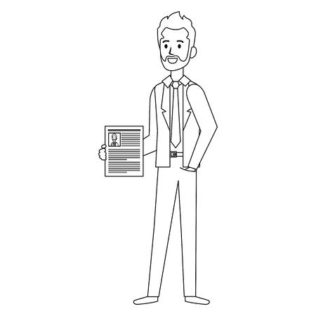 Businessman with curriculum avatar character Çizim