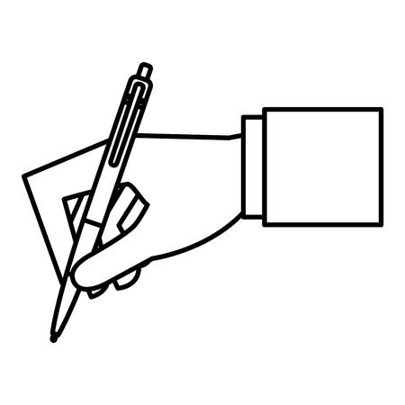 Hand with pen icon Stock Illustratie
