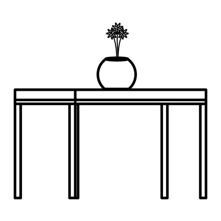 Wooden table with flower vase icon Illustration