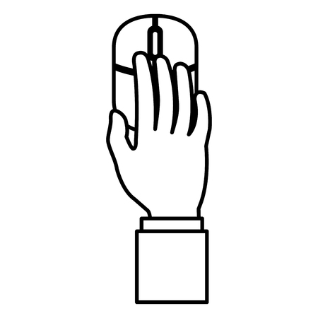 Hand using computer mouse icon