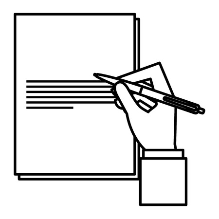 Hand writing with pen in paper icon Illustration