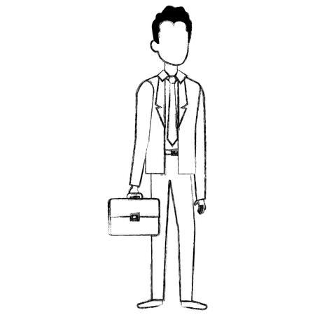 Businessman with portfolio avatar character vector illustration design Ilustrace
