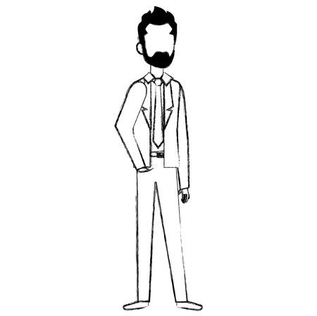 businessman with beard avatar character icon vector illustration design Çizim