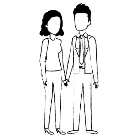 Business couple avatars characters vector illustration design Stock Vector - 99942586