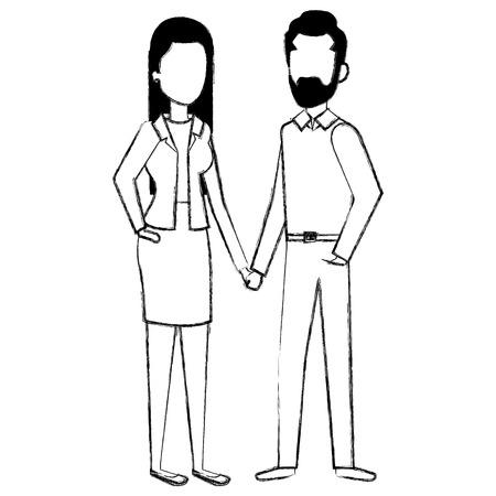 Business couple avatars vector illustration design