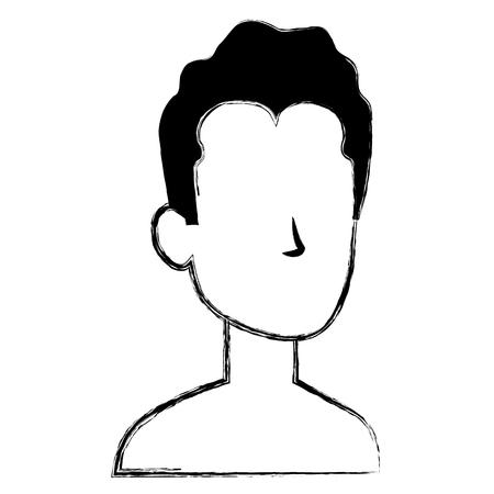 Faceless man character icon Illustration