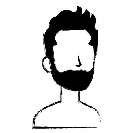 Faceless man with beard character icon