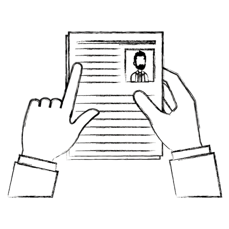 Hands with curriculum vitae document icon