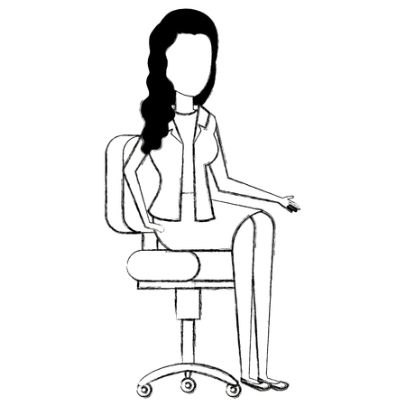 Businesswoman sitting on an office chair Stock Illustratie