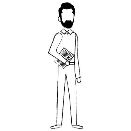 Businessman with curriculum avatar character vector illustration design