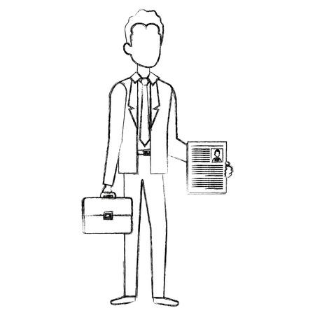 businessman with portfolio avatar character vector illustration design