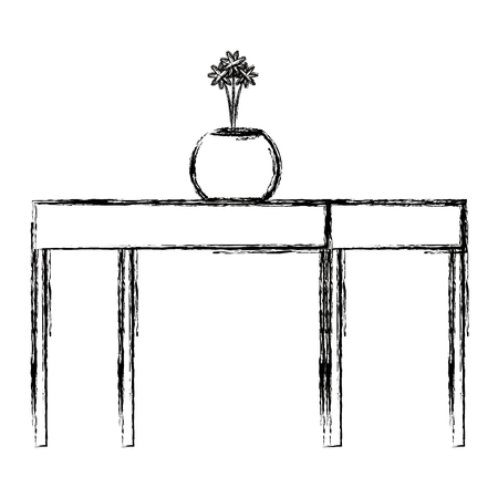 table wooden with flower vase vector illustration design