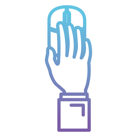 Hand using computer mouse vector illustration design.