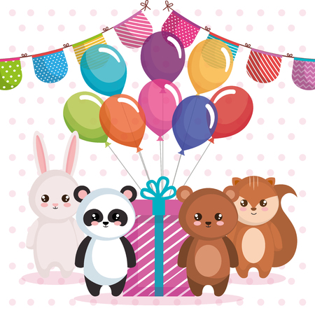 Happy birthday card with group of animals template design
