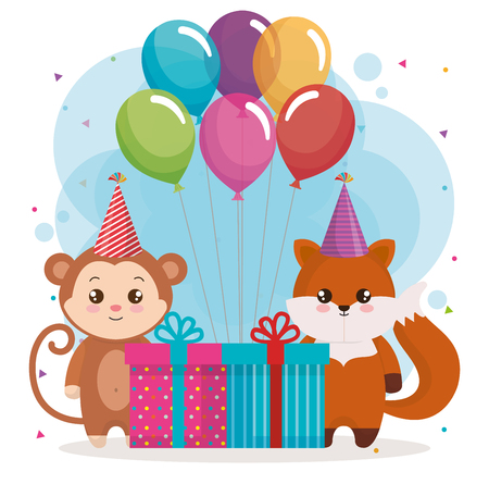 happy birthday card with fox and monkey vector illustration design