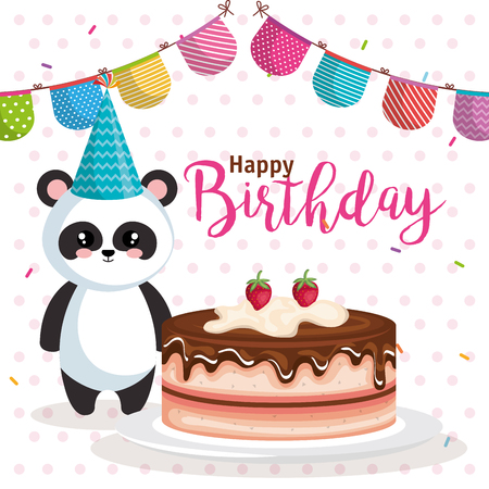 happy birthday card with bear panda vector illustration design 일러스트