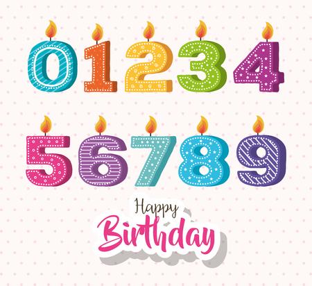 happy birthday candles set icons vector illustration design