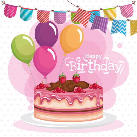 happy birthday cake celebration card vector illustration design