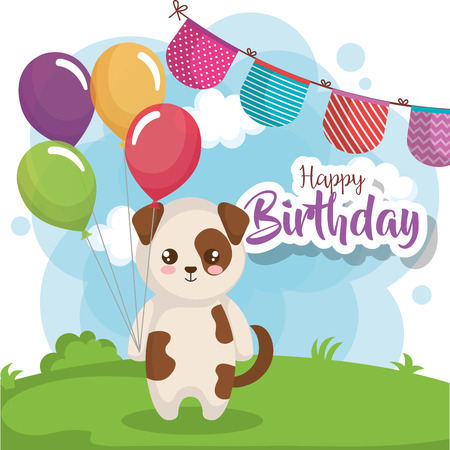 Happy Birthday Card With Dog Vector Illustration Design Royalty Free