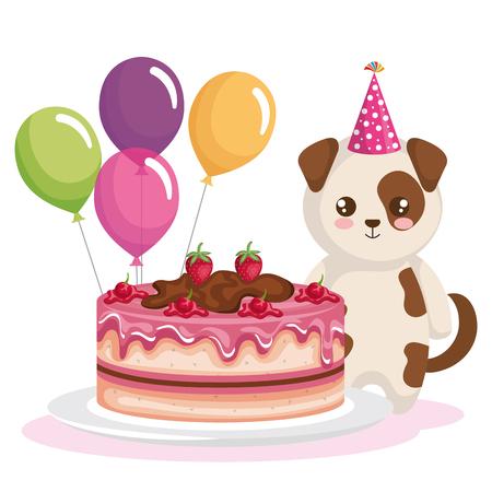 happy birthday card with dog vector illustration design Illustration