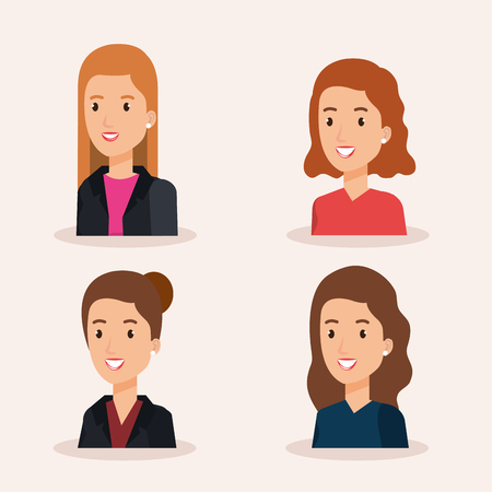 group businesswomen avatars characters vector illustration design