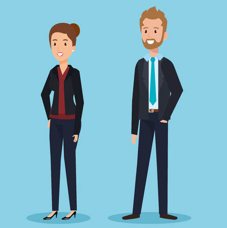 business couple avatars characters vector illustration design Stock Vector - 100073444