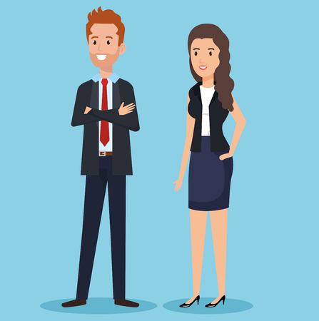 business couple avatars characters vector illustration design Stock Vector - 100073447