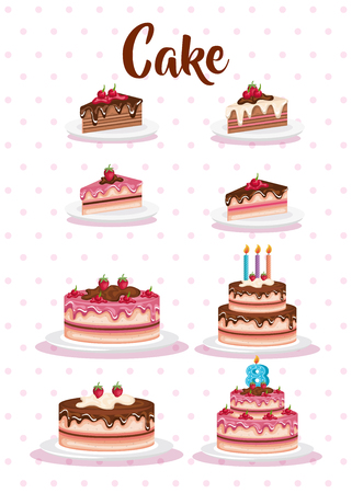set cake portions icons vector illustration design