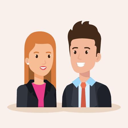 business couple avatars characters vector illustration design Stock Vector - 99998610