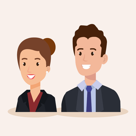 business couple avatars characters vector illustration design Stock Vector - 99998611