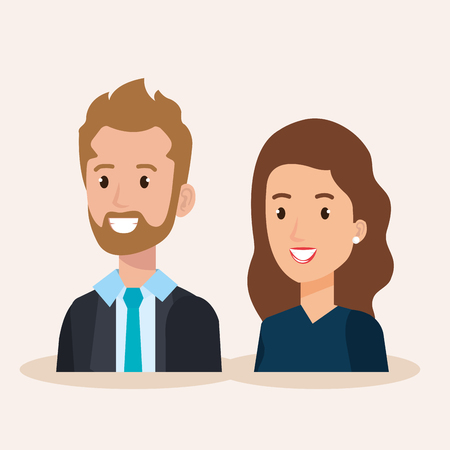 business couple avatars characters vector illustration design Stock Vector - 99998612