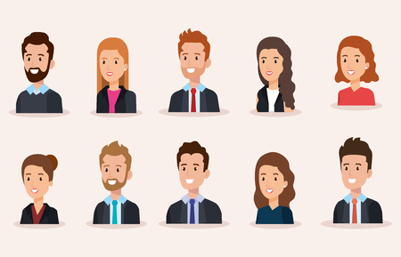 business people group avatars characters vector illustration design