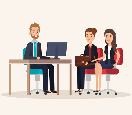 resources human office company scene with businesspeople vector illustration Stok Fotoğraf - 99982419