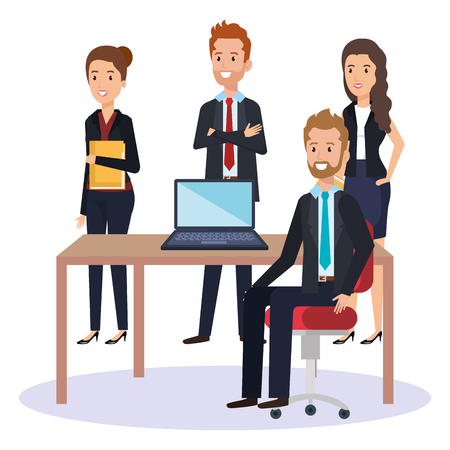 resources human office company scene with businesspeople vector illustration