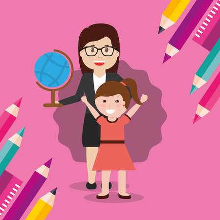 school teacher woman and little girl student with globe map vector illustration
